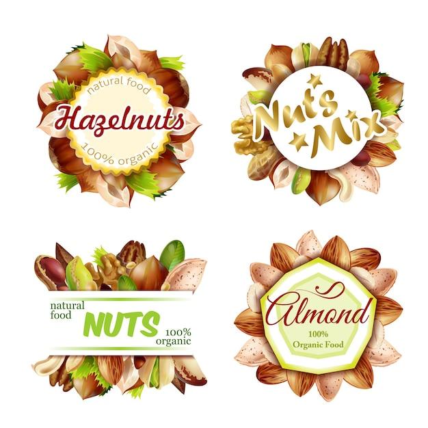 Set di etichette di noci naturali colorate premium Vettore gratuito