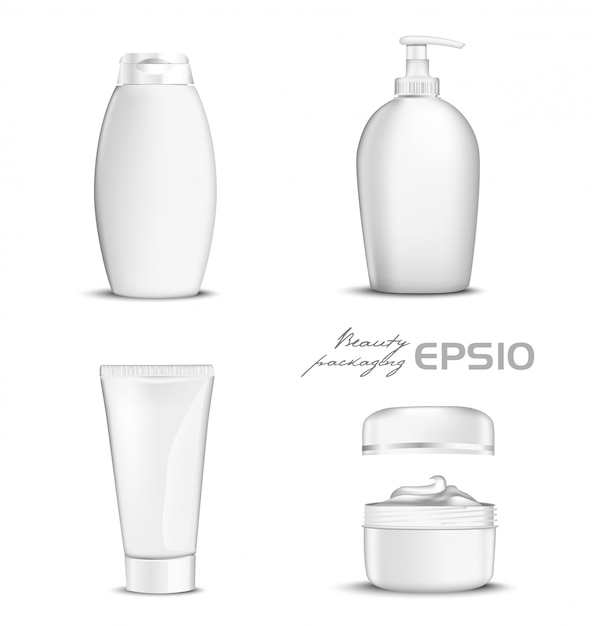 Premium cosmetics  set white color on background.  illustration bottle for shampoo, packing for soap open round package with cream inside,tube for toothpaste or cosmetic Premium Vector