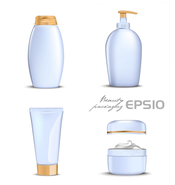 Premium cosmetics  set with gold lid on white background.  illustration bottle for shampoo, packing for soap open round package with cream inside,tube for toothpaste or cosmetic Premium Vector