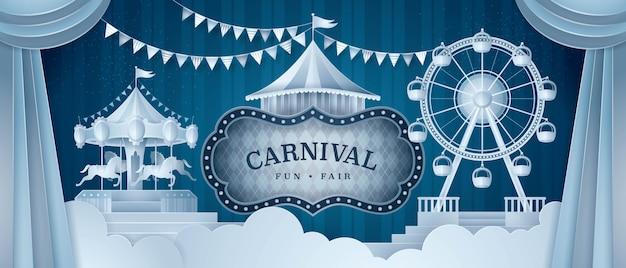 Premium curtains stage with circus frame Premium Vector