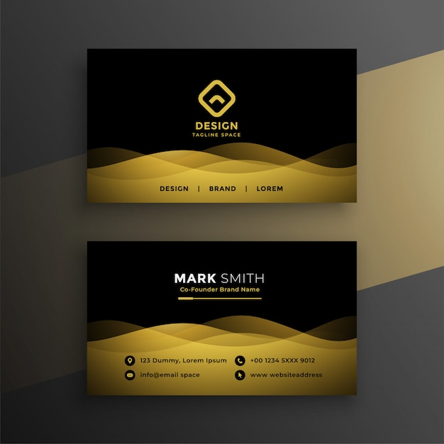 Premium dark business card design Free Vector