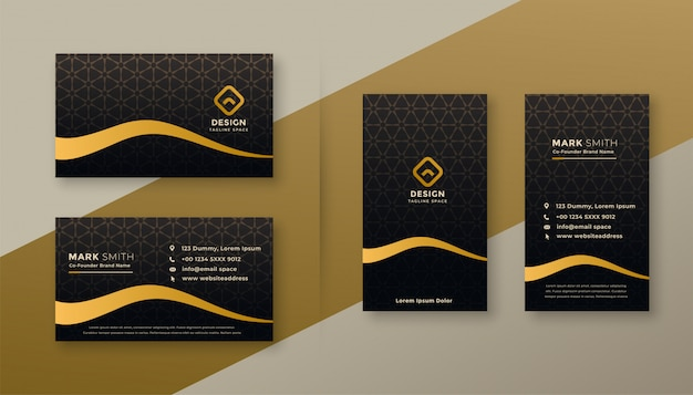 Premium dark golden business card designs set Free Vector