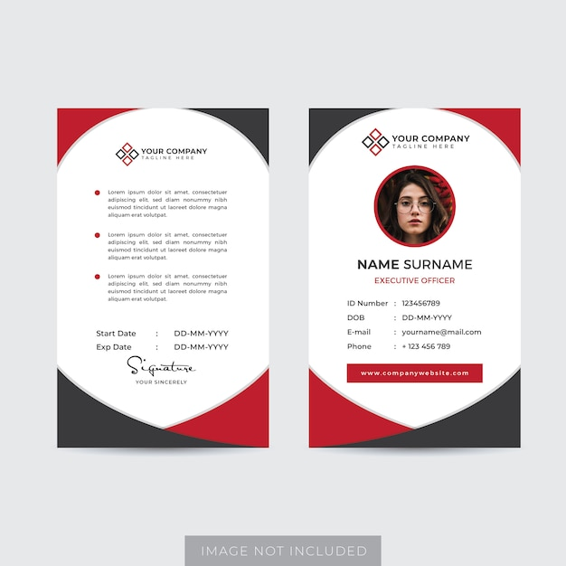 Premium Employee Id Card Template Vector