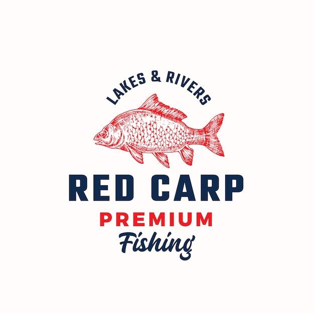 Segno di vettore astratto di pesca premium, simbolo o modello di logo Vettore gratuito