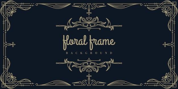 Premium gold floral frame background template Premium Vector