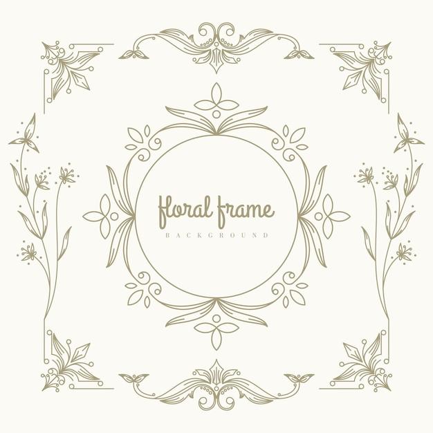 Premium gold logo design with floral frame Premium Vector