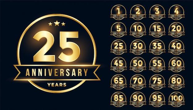 Emblema premium anniversario d'oro impostato in stile linea Vettore gratuito