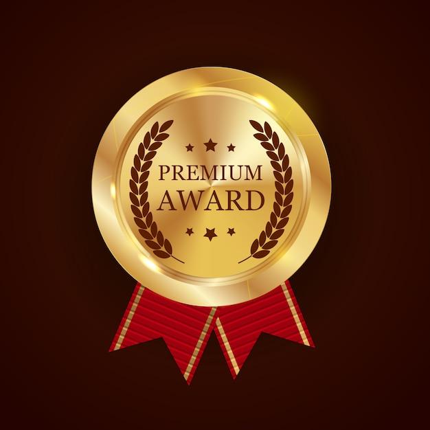 Премиум золотая награда с лентой Premium векторы