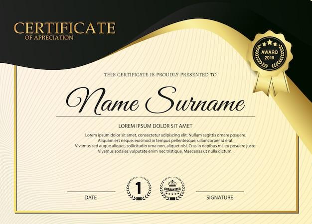 Premium golden black certificate template design. Premium Vector