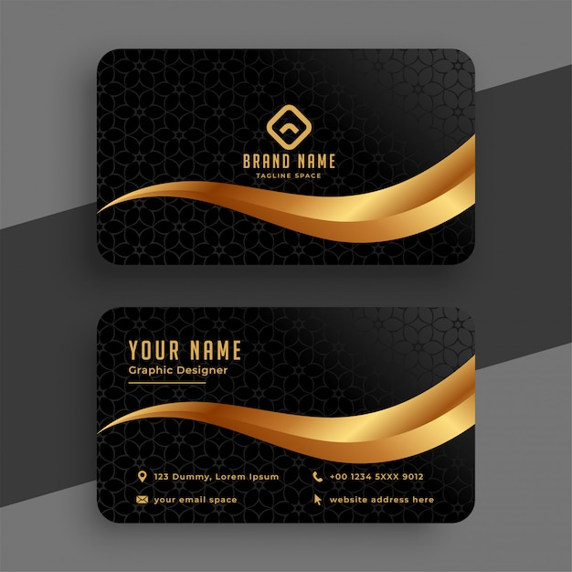 Premium golden and black wavy business card Free Vector