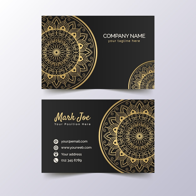 Premium golden business card template Free Vector