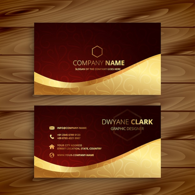 Premium golden business card Free Vector