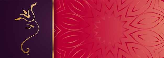 Premium golden lord ganesha  banner with text space Free Vector