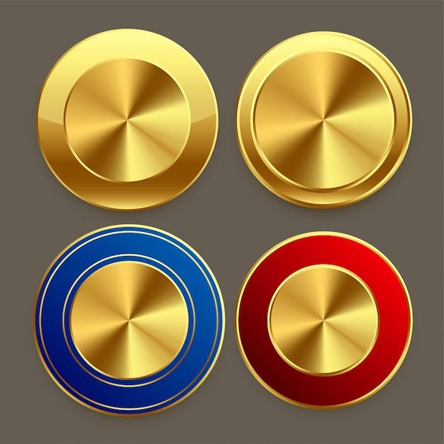 Premium golden metal circular buttons set Free Vector