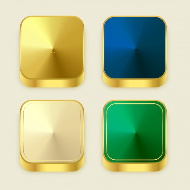 Premium golden shiny 3s square buttons Free Vector