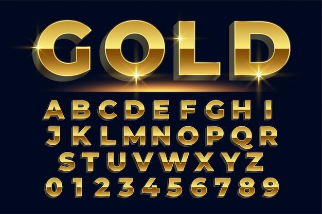 알파벳의 프리미엄 황금 빛나는 텍스트 효과 세트 무료 벡터