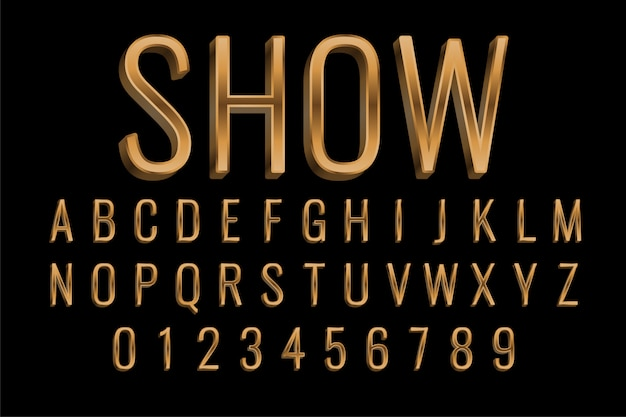 Premium golden style text effect in 3d Free Vector