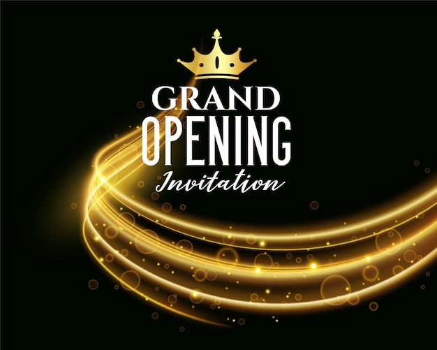 Premium grand opening dark invitation banner Free Vector