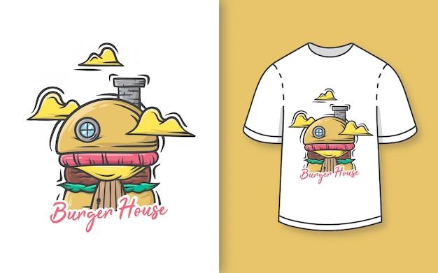 Премиальная нарисованная рукой милая иллюстрация дома бургера для футболки Premium векторы