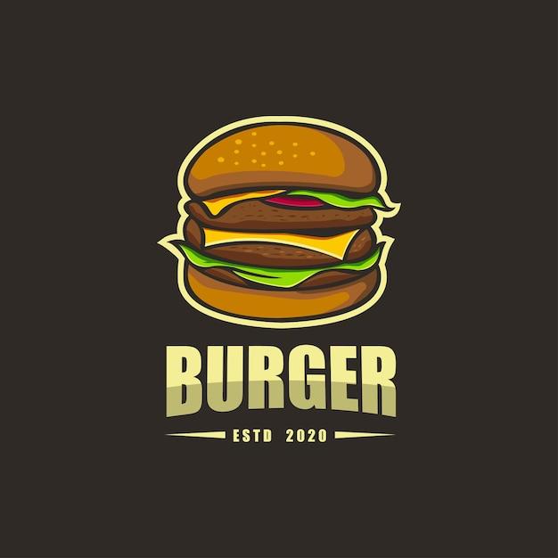 Премиум рукописный шаблон логотипа burger Premium векторы