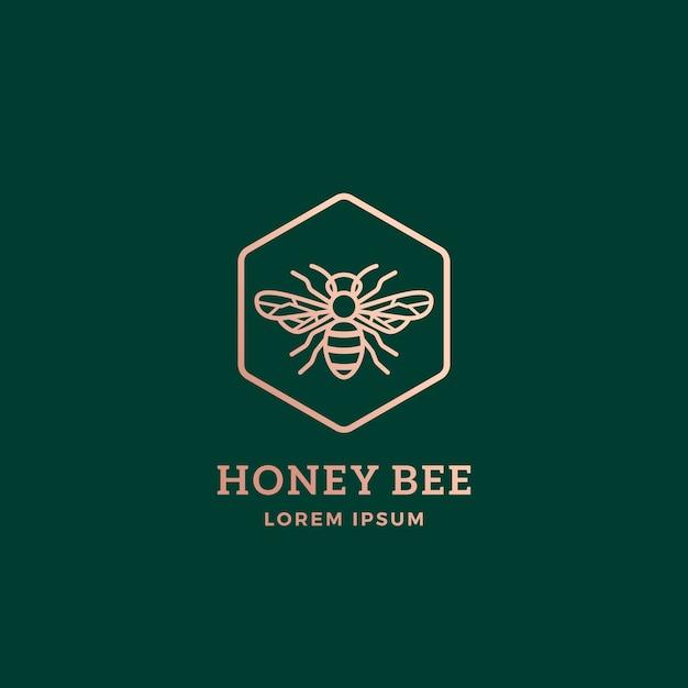 Премиум медоносная пчела абстрактный знак, символ или шаблон логотипа. Premium векторы