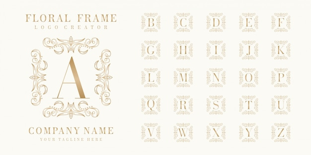 Premium initial bedge logo design with floral frame Premium Vector