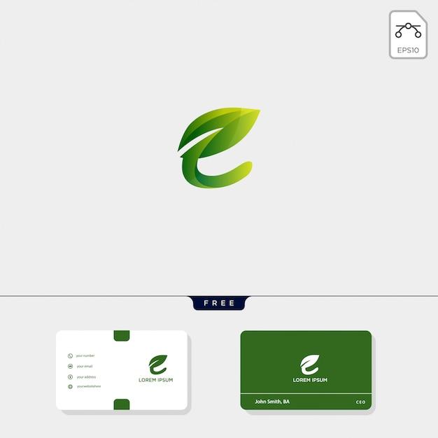 Premium initial e nature leaf creative logo template and business card template Premium Vector
