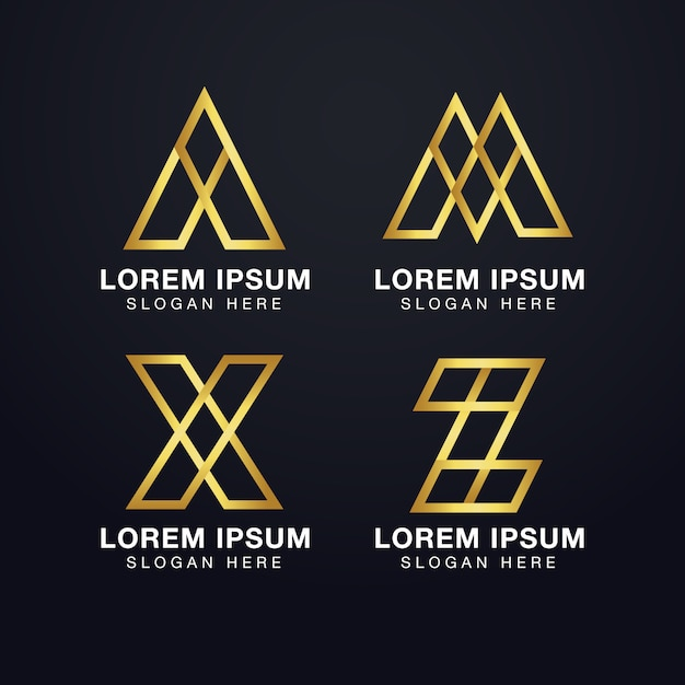 Premium initial letter a, m, x, and z logo template in gold color Premium Vector