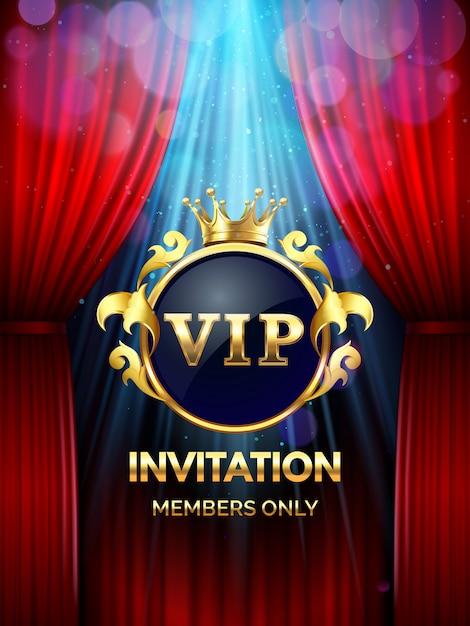 Премиум пригласительный билет. vip party приглашают с золотой короной и открытыми красными шторами. шаблон баннера торжественного открытия Premium векторы