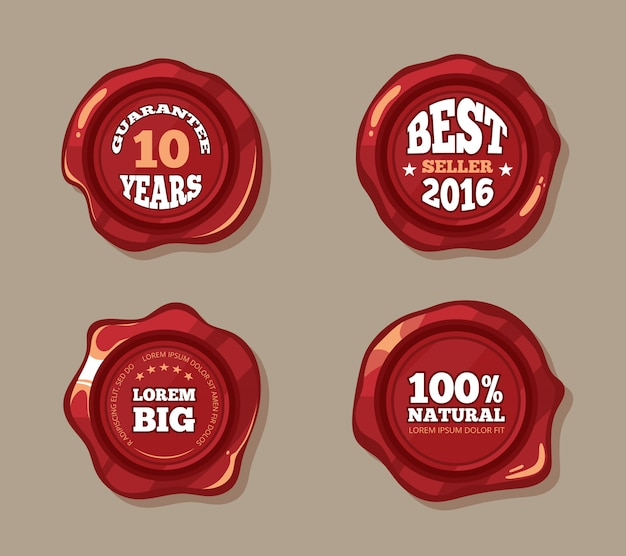 Premium labels on wax seal stamps Premium Vector
