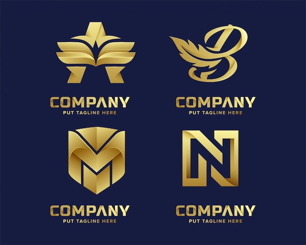 Premium luxury abstract letter initial gold logo template Premium Vector