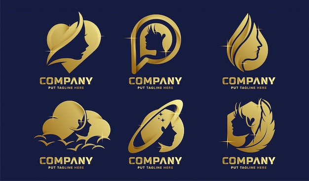 Premium luxury feminine logo collection for company Premium Vector