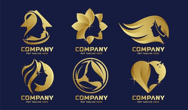 Premium luxury feminine logo collection for company Premium Vector