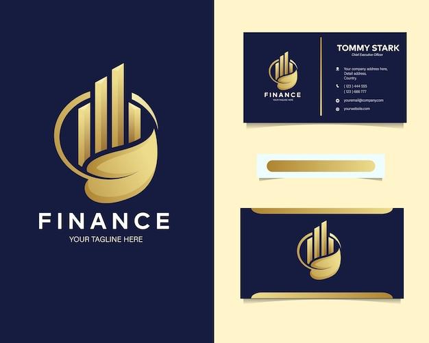 Премиум роскошный финансовый логотип с канцелярской визиткой Premium векторы