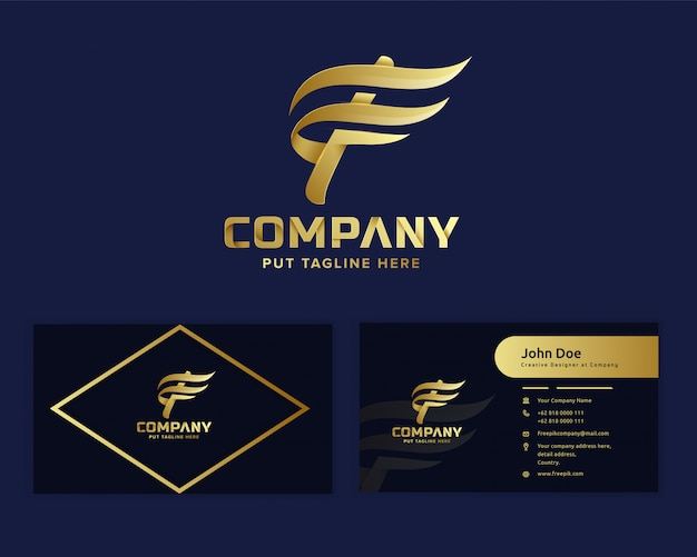 Premium luxury letter initial f logo  for business start up and company Premium Vector