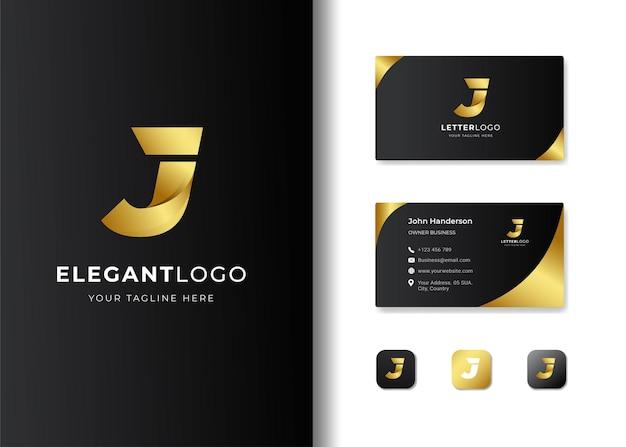 Premium luxury letter initial j logo and business card design Premium Vector