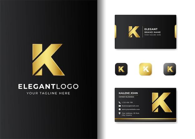 Premium luxury letter initial k logo and business card design Premium Vector