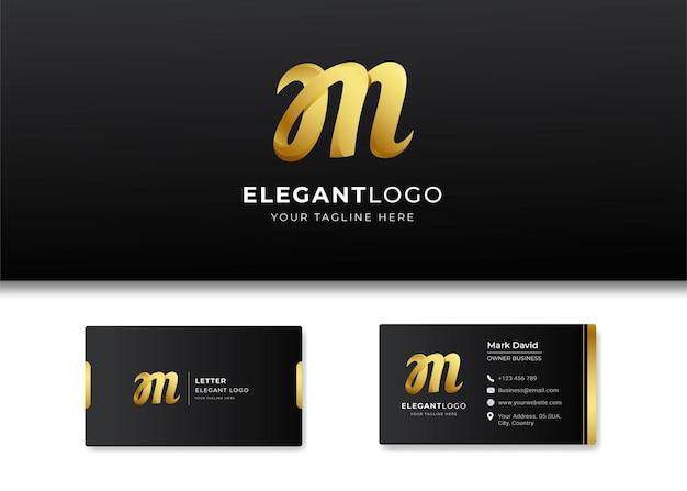 Premium luxury letter initial m logo and business card design Premium Vector