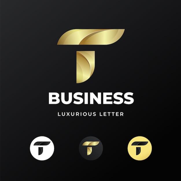 Премиум роскошная буква буква t дизайн логотипа Premium векторы
