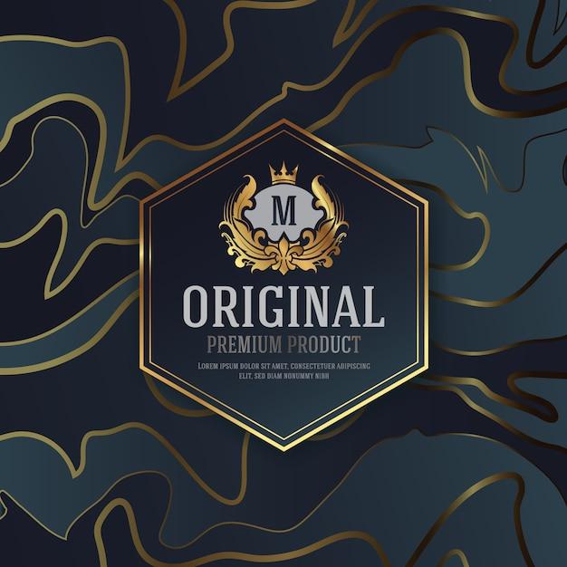 Premium luxury packaging design with heraldic emblem label Premium Vector