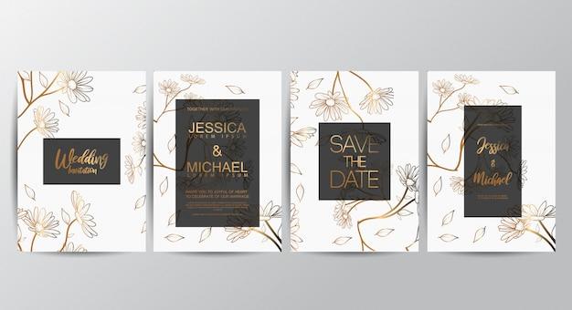 Premium luxury wedding invitation cards Premium Vector