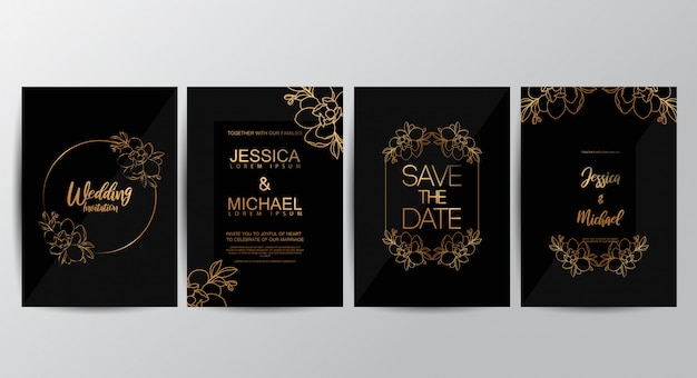 Premium luxury wedding invitation cards Premium Vector