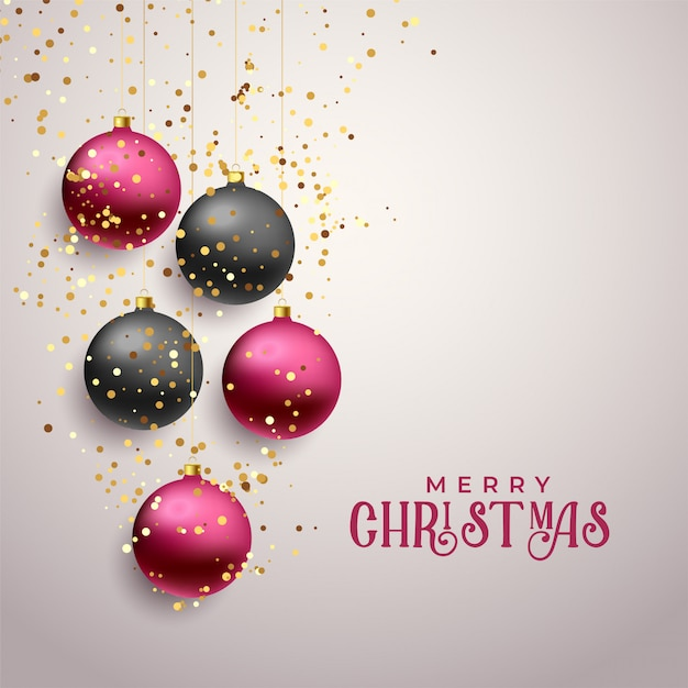 Premium merry christmas greeting with falling glitter Free Vector