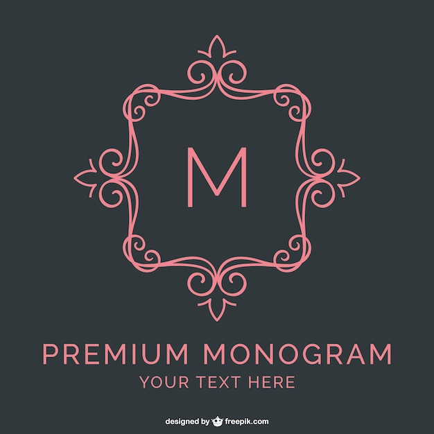 Premium monogram template vector free download for Free monogram template
