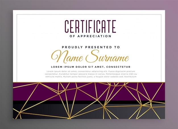 Premium multipurpose certificate with golden low poly lines Free Vector