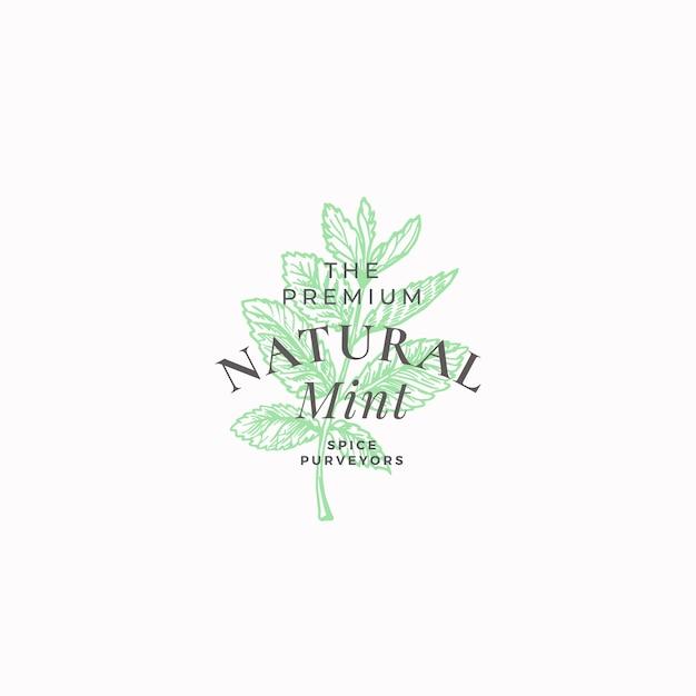 Премиум натуральный мятный абстрактный знак, символ или шаблон логотипа. Бесплатные векторы