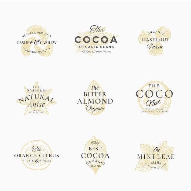 Набор наклеек premium qualituy специи, орехи и фрукты. абстрактные знаки, символы или шаблоны логотипов. элегантный рисованный эскиз силуэта с ретро-типографикой. винтажные роскошные эмблемы. Premium векторы