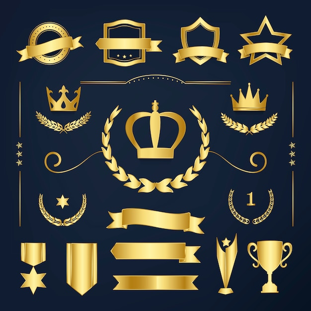 Premium quality badge and banner collection vectors Free Vector