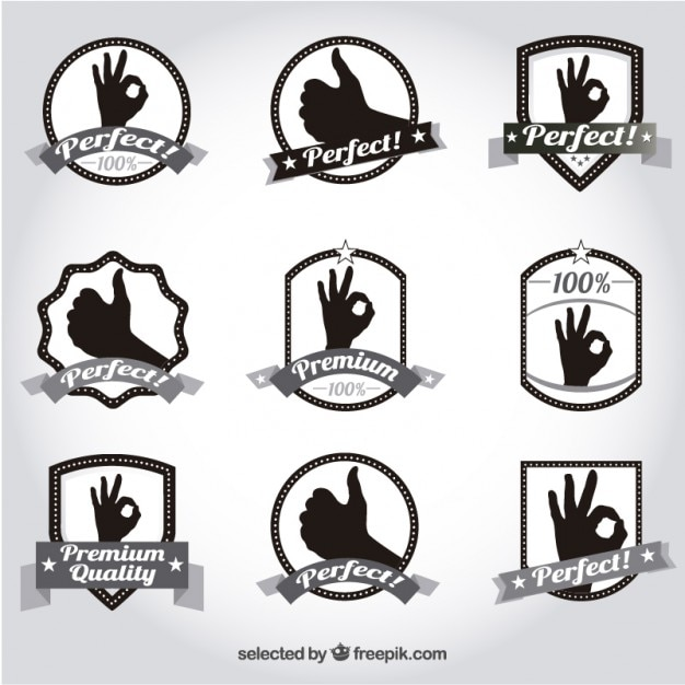 Premium quality badges Free Vector