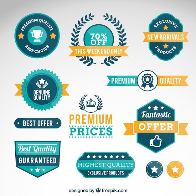 Premium quality badges Free Vector